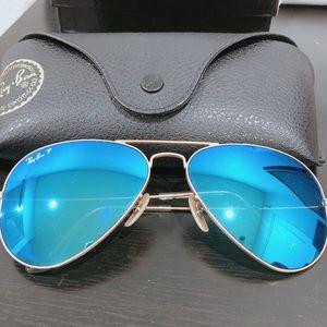 Ray Ban blue chrome aviator sunglasses